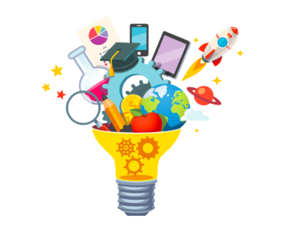Lightbulb exploding with educational icons